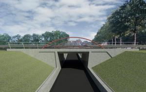 De fietstunnel in De Leijen gezien vanaf Gorredijk.