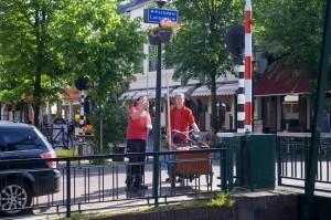 Medewerkers van Maatwurk geven de bloemen water.