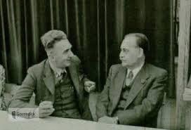 Burgemeester Harmsma en minister-president Drees.